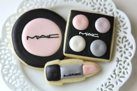 MAC Makeup Sugar Cookies 2 dozen by CookieConfectionery on Etsy, $40.00 (This is adorable, but you know where the seller would make a killing?  *Mary Kay* themed cookies. )