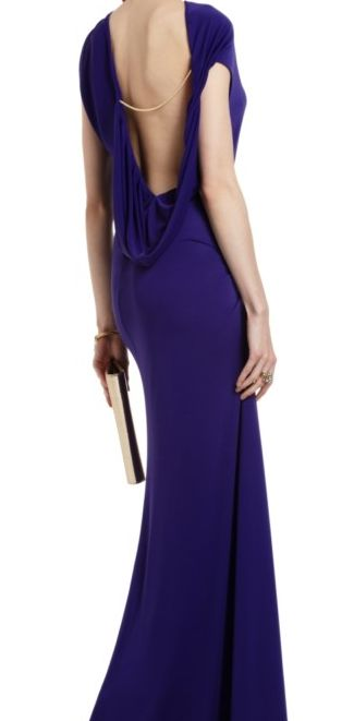 NEW BCBG MAX AZRIA FRAN PERSIAN BLUE  DRESS      Set the stage for a glamorous evening in this boldly asymmetrical gown    Asymmetrical neckline. Sleeveless. Classic fit.  Gathered one-shoulder neckline with strap at left shoulder. Cowl-back with chain detail. Asymmetrical ruched detail. Side sli...