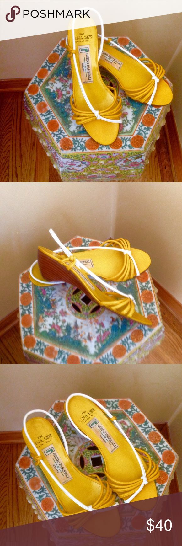 """Yellow and white striped sandals ❤️ gorgeous sandals made in Italy by Guido Pasquali exclusively for Lina Lee Beverly Hills! ❤️ 100% leather and like new! ❤️ Very comfortable and light! ❤️ Perfect for summer!👙☀️💐☘Hight of heels is 2.25"""" Guido Pasquali Shoes Sandals"""