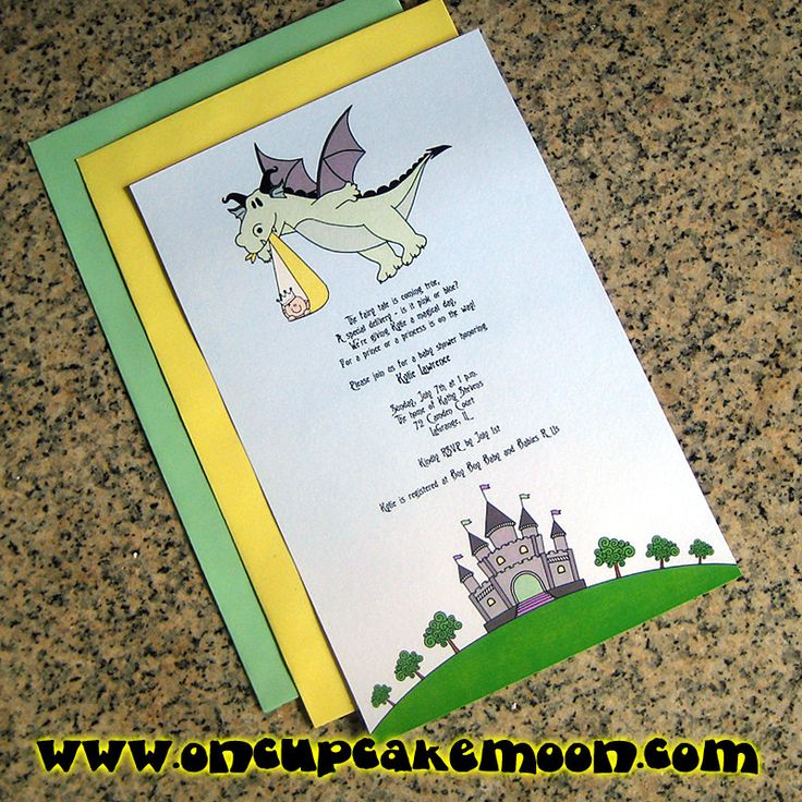 boy baby shower invitations australia%0A Fairy tale dragon stork baby for either girl or boy baby shower full sized  fully custom invitations with envelopes  set of