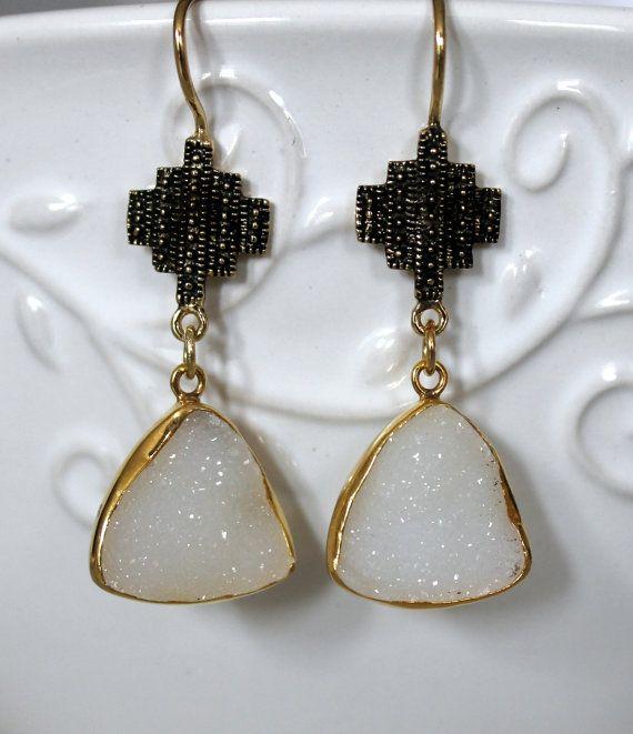 White Druzy Agate natural Bezel drop earrings by NHjewel on Etsy, $60.00