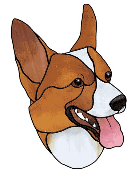 Corgi free sample from Stained Glass Patterns by Jillian Sawyer, from Glass Books