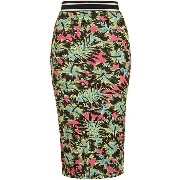TOPSHOP Tropical Print Tube Skirt ($30) ❤ liked on Polyvore featuring skirts, pink, tropical print skirt, pink skirt, topshop skirts, sporty skirt and green tube skirt