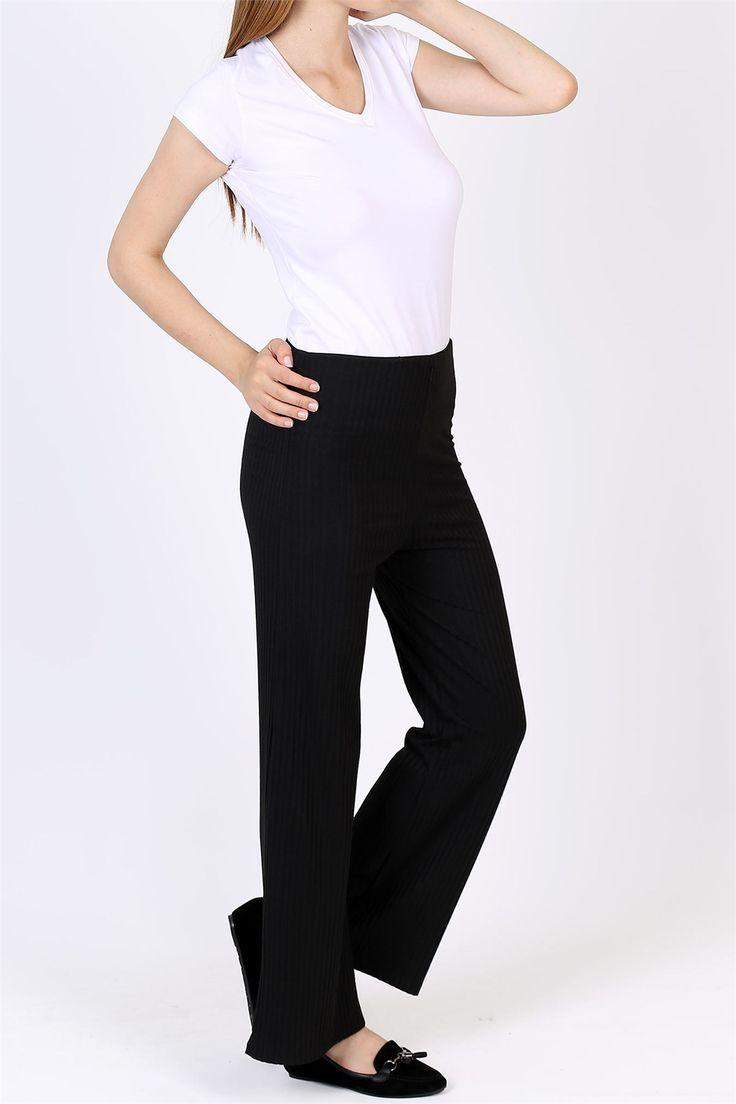 Yeni Sezon Siyah Çizgili Bayan Kumaş Pantolon 1995B