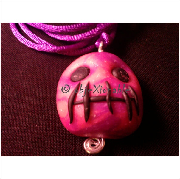 Pink tie-dye shrunken Skull Pendant - goth/emo/halloween interest