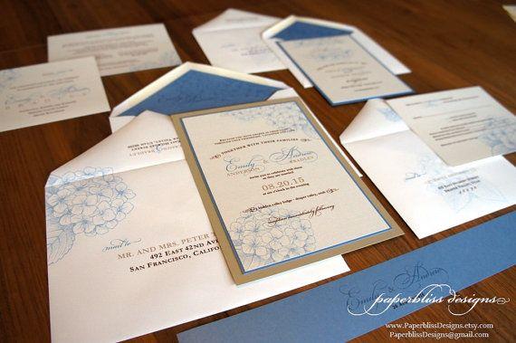 HYDRANGEA Wedding Invitation SAMPLE SET by PaperblissDesigns