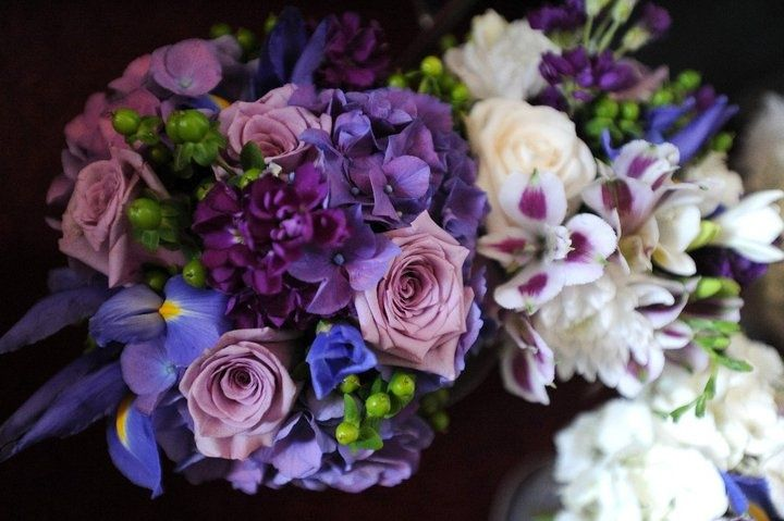 iris wedding bouquet | Deep purple hydrangea, purple Iris, lavender ... | Wedding Bouquets