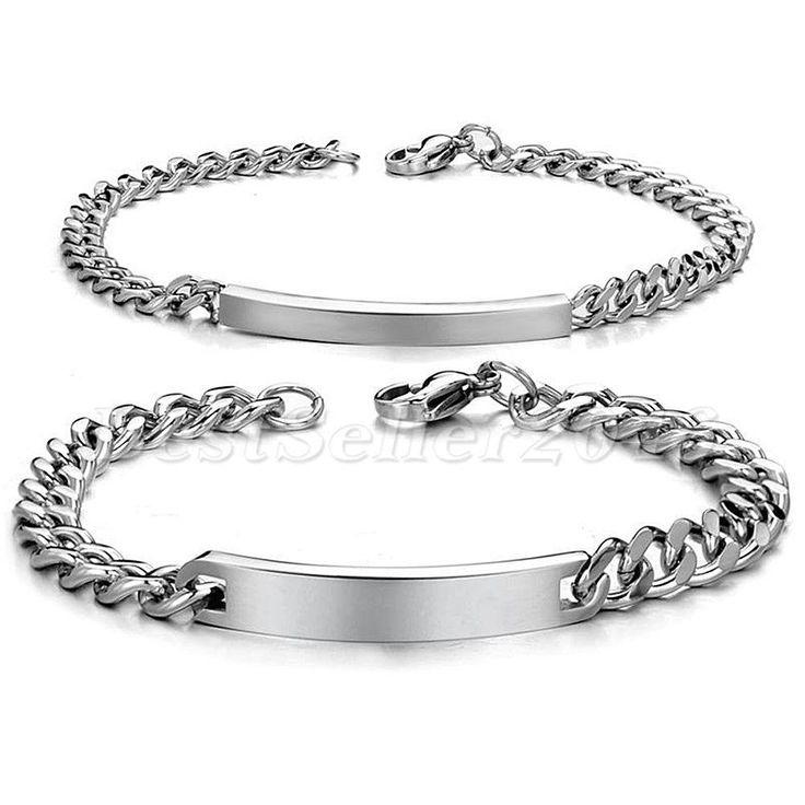 Einfach Hoch Polirt Edelstahl Partner Armreif Armband Silber Panzerkette Kette