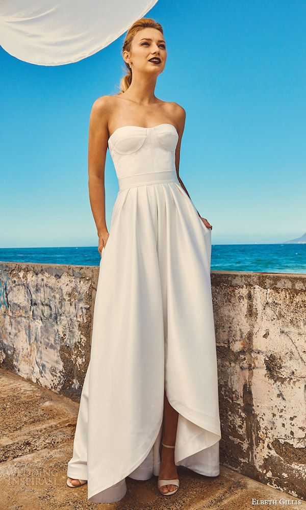 elbeth gillis milk honey 2017 bridal separates strapless sweetheart aline high low wedding dress (chloe top harper skirt) mv pockets