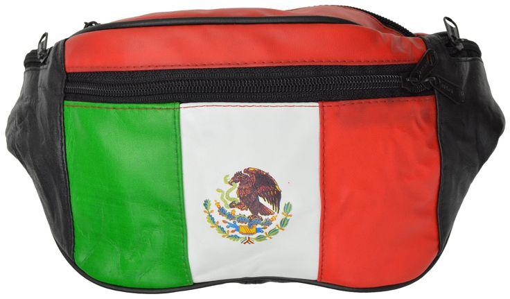 Top Grain Genuine leather Mexican Flag Waist Bag/Fanny Pack/ Waist Hip Purse 965 (C)