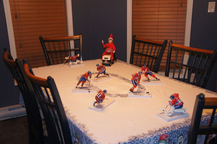 Elf on the shelf waiting on the Zamboni for the end of the hockey game. - Montreal Canadiens