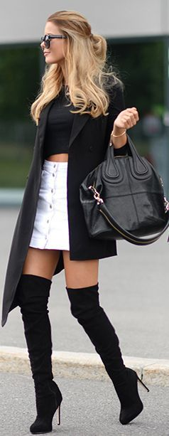 Edgy look | Black crop top, button up white skirt, over the knee boots and black coat