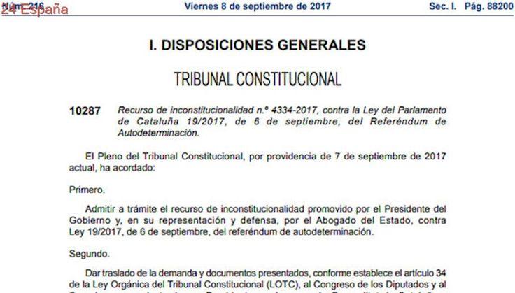 Suspendida oficialmente la convocatoria del referéndum de Cataluña tras su publicación en el BOE