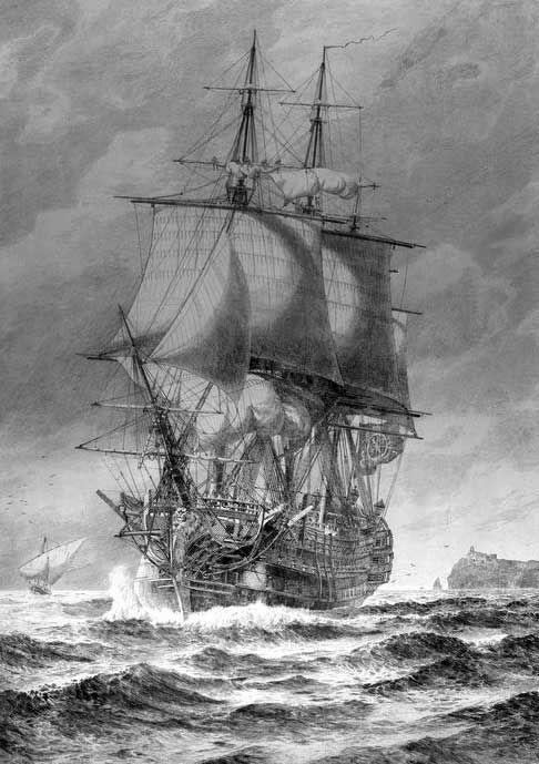 El navío Santísima Trinidad navegando-Santisima Trinidad. Ilustración de Hagg, J. de 1913. Museo Nacional Marítimo de Londres. Este dibujo representa al Trinidad antes de su remonte a 4 cubiertas.