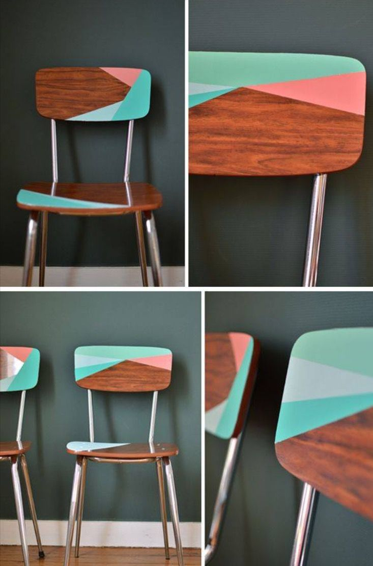 Painted pastel geometric mid century modern retro wooden chair