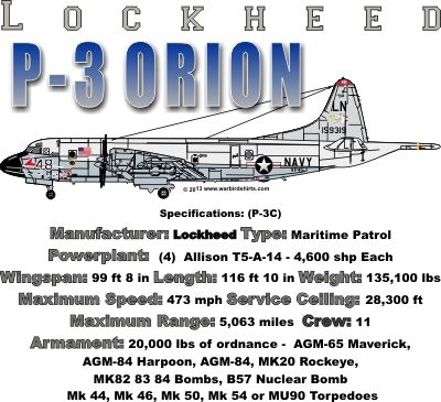 WARBIRDSHIRTS.COM presents 1950-Present T-Shirts, Polos, and Caps, Fighters, Bombers, Recon, Attack, 1950 - Present day. The P-3 Orion