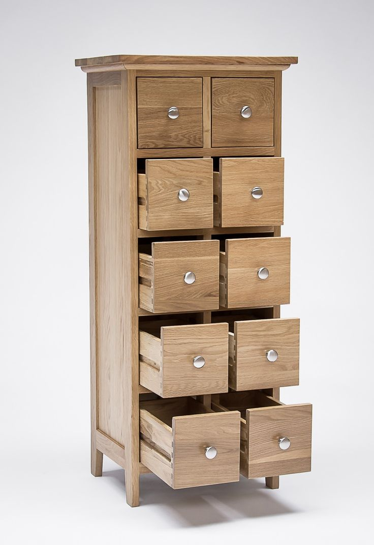 Sherwood Oak DVD And CD Storage Unit 10 Drawers   NEW Expertly Crafted From  Solid Oak