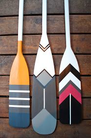 Painted oars - I could definitely pull this one off. I just need a house...