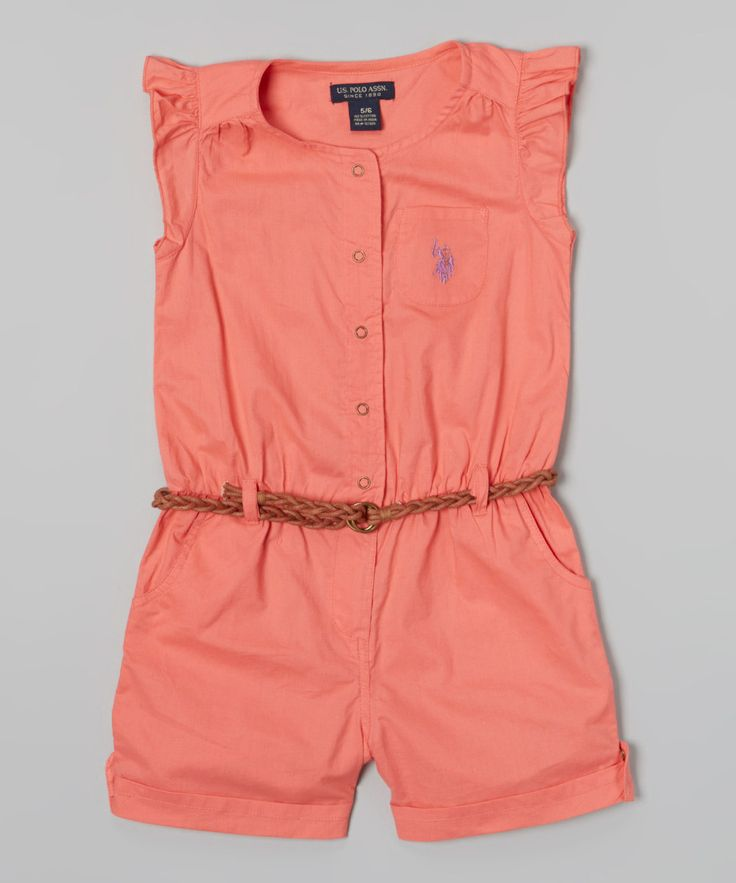 Take a look at this Calypso Peach Angel-Sleeve Romper - Infant, Toddler & Girls I bought at zulily today!