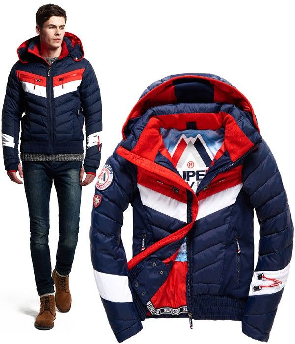 Acheter Veste d'Hiver pour Homme – Bleu Rouge Blanc – Spécial Ski – SUPERDRY