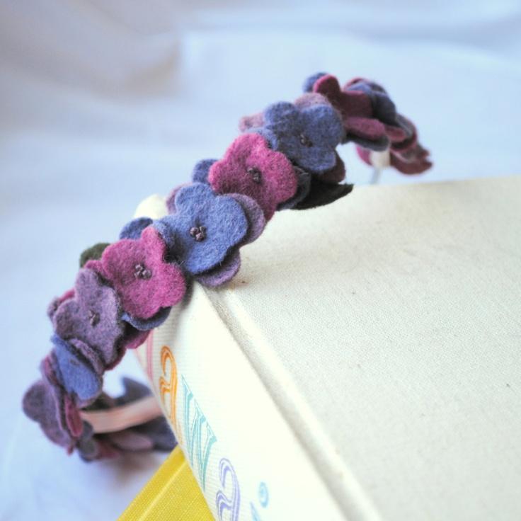 Beautiful Felt Embroidered Flowers | Purple Hydrangea Flower Crown Headband - Felt Flower Statement Hair ...