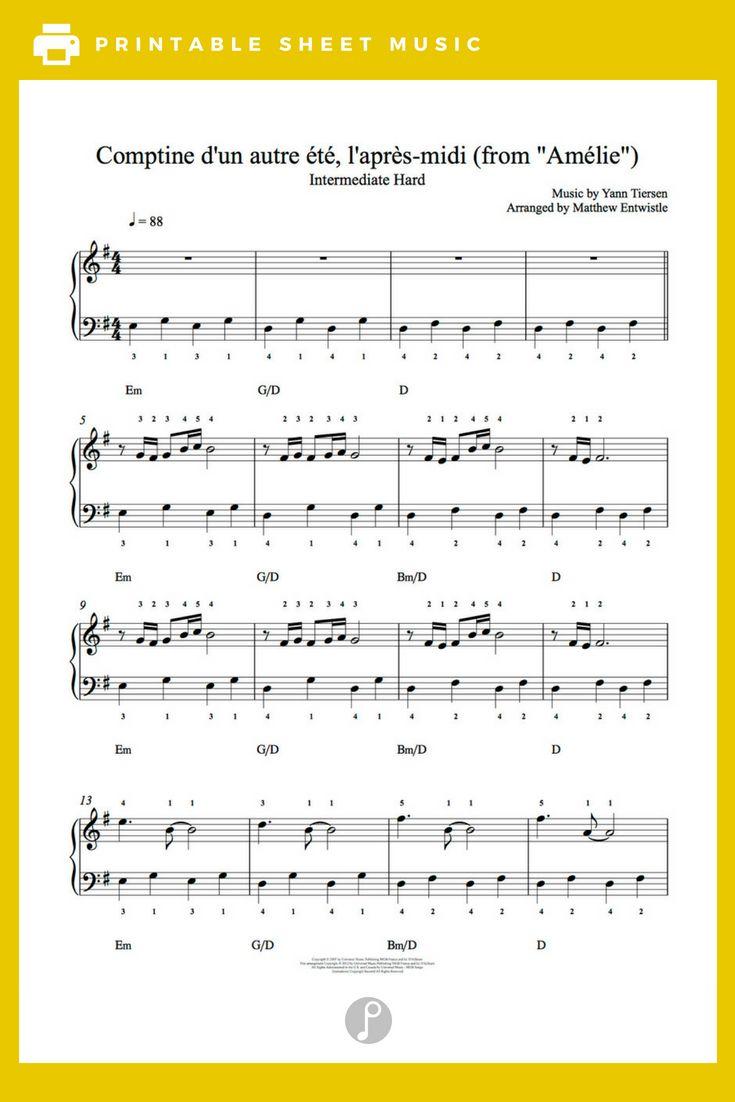 Comptine D Un Autre été Guitar Chords Comptin D Un Autre Ete By Yann Tiersen From Amelie Piano Sheet