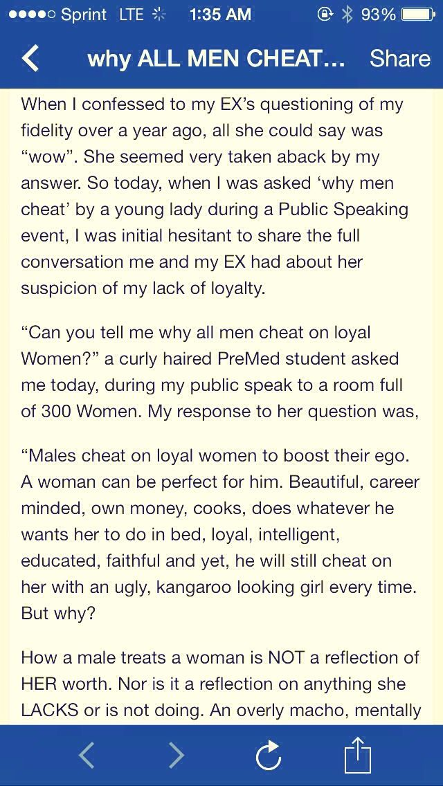 """why All Men Cheat On Loyal Women"" (lengthy, But Worth The Read)"