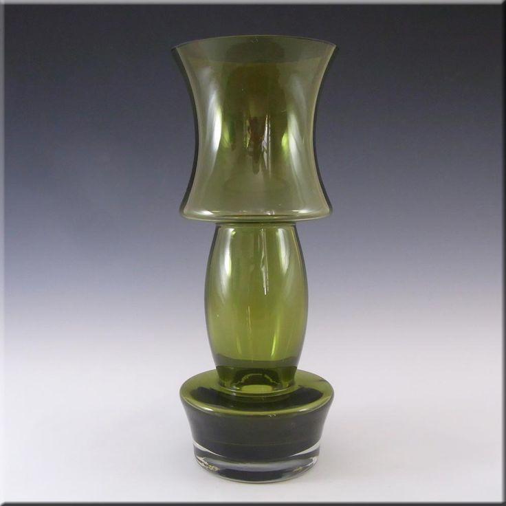 Riihimaki/Riihimaen Lasi Oy Finnish Green Glass Vase #2 - £60.00