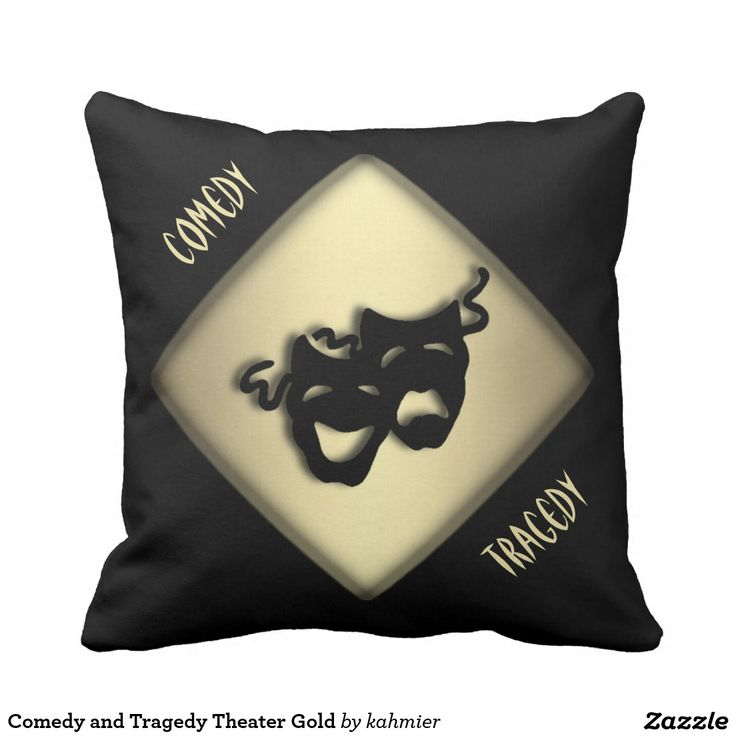 Comedy and Tragedy Theater Gold Pillow