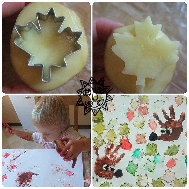 výtvarný nápad pro děti na podzim, otisky dlaní, tvoření s dětmi na podzim - ježek, nápady pro prstové barvy