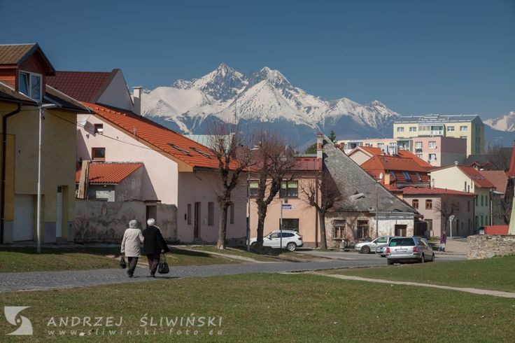 The old town in Kežmarok with the Tatra Mountains on the background, Slovakia.