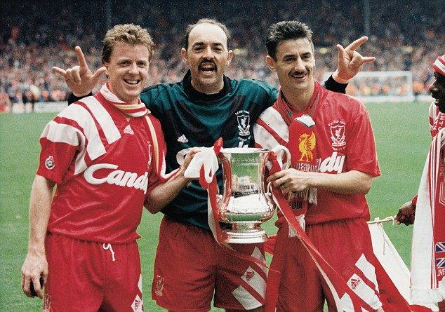 Bruce Grobbelaar (centre), the goalkeeper picked by Barnes, at the 1992 FA Cup final