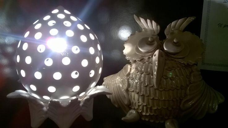 lampada e civetta modellati a mano (handmade in Italy)