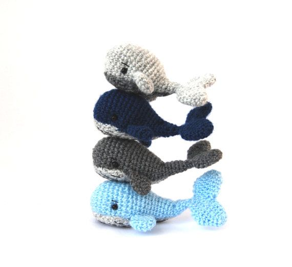 $31.14 Tiny WHALE soft figurine, NAUTICAL room decor, soft toy for boys, miniature whale, #OCEAN #nursery decor, summer vacation toy, #babyfish doll by crochAndi