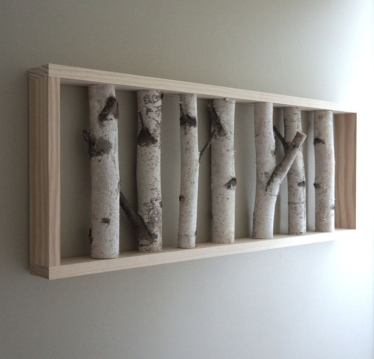 Natural white birch forest wall art 36 x 12 birch branch decor birch log wall hanging - Wooden wall decoration ...