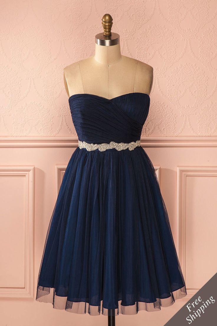 Robe bustier bleu marine tulle taille cristaux - Navy blue tulle strapless crystals waistline dress