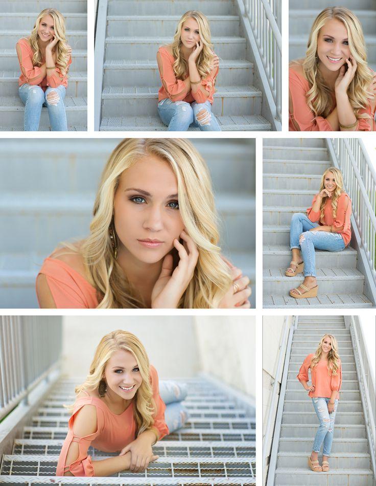 Alexandra Feild Photography Senior Portraits Viera Melbourne Orlando Florida Senior girl poses on stairs