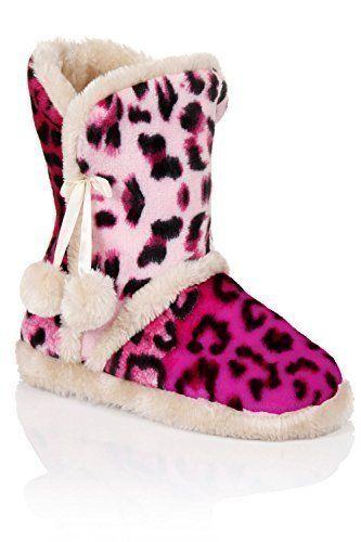 Womens Rosa Leopardenmuster Flauschig Hausschuhe Stiefel Mit Pom-pom Details - Damen, Leopard Gepunktet, Leopard S/M 36-38 - http://on-line-kaufen.de/loungeable-boutique/leopard-s-m-36-38-womens-rosa-leopardenmuster-mit