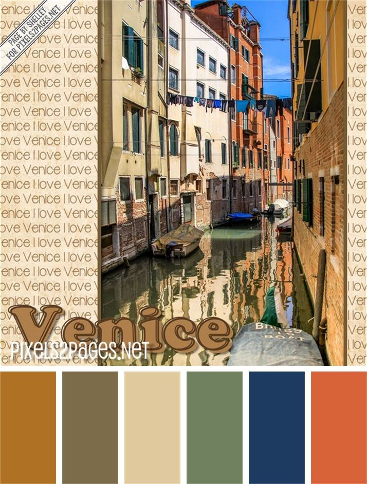 """Color palette for digital scrapbook layout """"Italy"""" for www.pixels2Pages.net. Learn how to do this in the video """"Word Art Paper"""". Created in Artisan by Panstoria."""