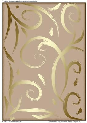"""Thinking Of You Metallic Swirls Pastel 1  on Craftsuprint designed by Anna Babajanyan - My latest design of my beautiful freestyle gold metallic swirls on soft pastel background. While designing this I was thinking of a good dear friend of mine, and therefore I gave this design """"Thinking Of You"""" title :-) This background can be suitable for almost any occasion cards and projects: Birthday, Congratulations, Thinking Of You, Missing You, Good Luck,Engagement, Anniversary, Sorry, Retirement…"""