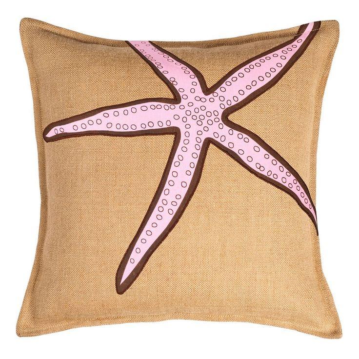 Greendale Home Fashions Starfish Burlap Throw Pillow, Pink