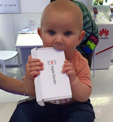 Adorable!  Alex Soule's little munchkin couldn't resist helping himself to our packaging after his dad had his iPhone 6 screen replaced at our Port Elizabeth branch.