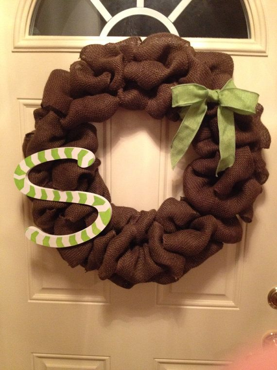 Large Brown Burlap Wreath with Chevron Painted Letter by DefinitelyDenise - $47