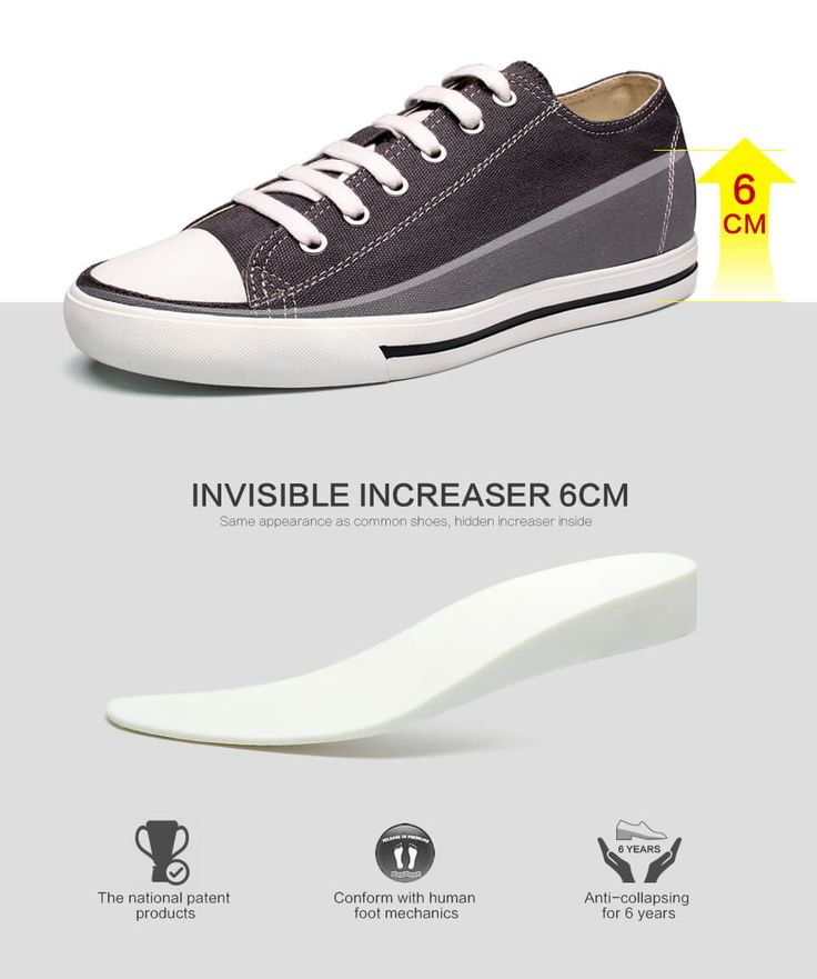 Classic Tall Men Shoes Casual Elevator Mens Shoes Canvas Solid Grey Look  Taller Sport Elevator Shoes