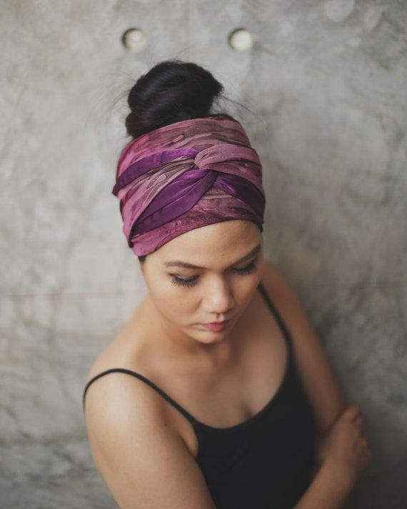 Precious Plum Winding turban headband Two Tone by RumraisinA