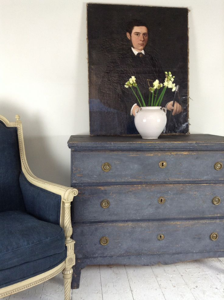 Blue Swedish commode just arrived at  Anton & K Gloucestershire