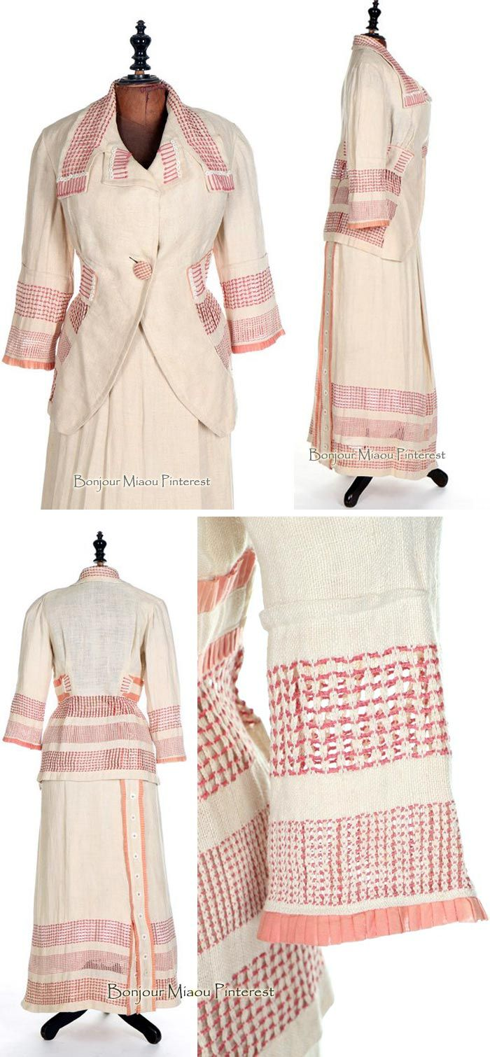 Suit, Pluym, Washington, DC, 1912. Linen open-weave with contrasting bands of pulled and drawn threads in pink silk, with pink cords, pink organdy ruffles, and white buttons. Kerry Taylor Auctions