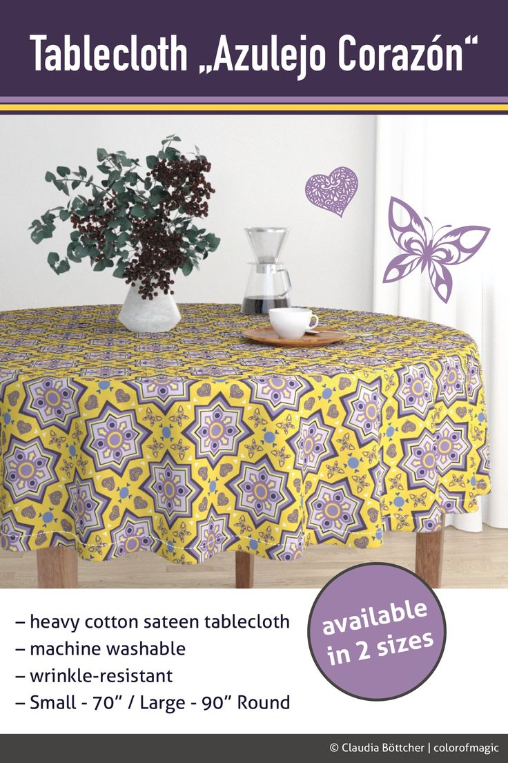 The luxe, heavy cotton sateen Malay tablecloth with Spanish Tiles design by colorofmagic will elevate your round dining table with one-of-a-kind pattern and color. Available in 2 sizes. Mix-and-match with Amarela dinner napkins for a truly unique tablescape.  #design #pattern #fabric #tablecloth #dining#cottonsateen  #customized #azulejo #spanishtiles #designs #yellow #roostery#colorofmagic
