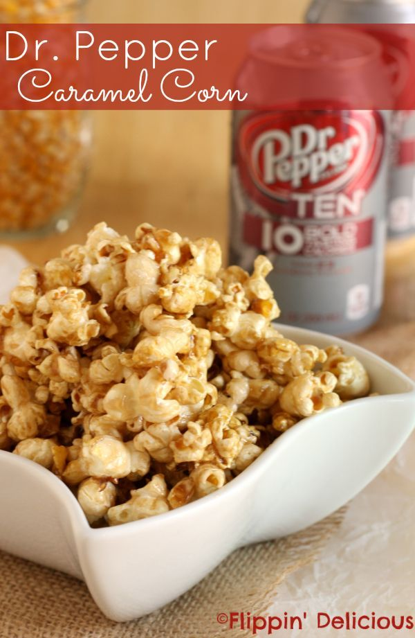 """Skinny,"" creamy caramel popcorn flavored with Dr. Pepper TEN. Only 4 ingredients, and less than 200 calories per serving. #drinkTEN #shop"
