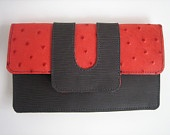 Gray and Coral red printed ostrich leather wallet.  Treat yourself this Christmas!